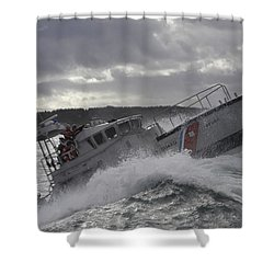Shower Curtain featuring the photograph U.s. Coast Guard Motor Life Boat Brakes by Stocktrek Images