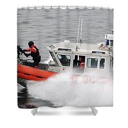 U.s. Coast Guardsmen Aboard A Security Shower Curtain by Stocktrek Images