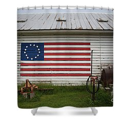 Us Flag Barn Shower Curtain