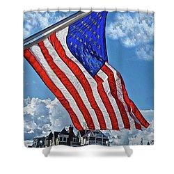 Us Flag,ocean Grove,nj Flag Shower Curtain by Joan Reese