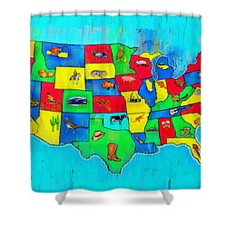 Us Map With Theme  - Free Style -  - Da Shower Curtain
