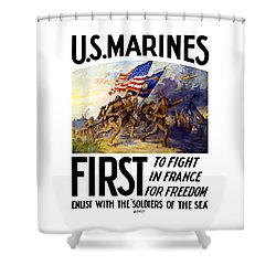 Us Marines - First To Fight In France Shower Curtain by War Is Hell Store