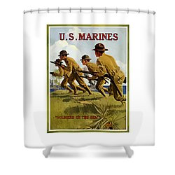 Us Marines - Soldiers Of The Sea Shower Curtain by War Is Hell Store