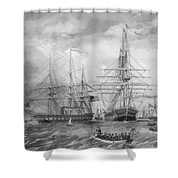 U.s. Naval Fleet During The Civil War Shower Curtain