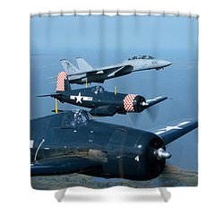 Us Navy Lagacy Flight  Shower Curtain by John Clark