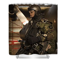 U.s. Navy Seal Combat Diver Prepares Shower Curtain by Tom Weber