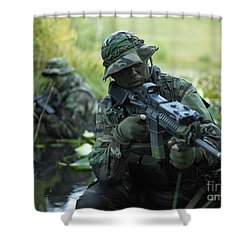 U.s. Navy Seals Cross Through A Stream Shower Curtain by Tom Weber