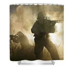 U.s. Navy Seals During A Combat Scene Shower Curtain by Tom Weber