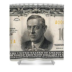 Shower Curtain featuring the digital art U.s. One Hundred Thousand Dollar Bill - 1934 $100000 Usd Treasury Note  by Serge Averbukh
