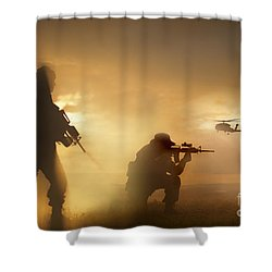 Shower Curtain featuring the photograph U.s. Special Forces Provide Security by Tom Weber