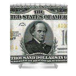 Shower Curtain featuring the digital art U.s. Ten Thousand Dollar Bill - 1934 $10000 Usd Treasury Note by Serge Averbukh