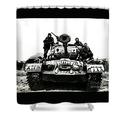 U.s. Troops With Korean Tank 1951 Shower Curtain by Peter Gumaer Ogden