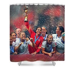 Us Women's Soccer Shower Curtain by Semih Yurdabak
