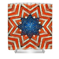 Shower Curtain featuring the digital art Usa Abstract by Edward Fielding