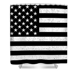 Shower Curtain featuring the digital art Usa Flag Hidef Super Grunge Patina by Bruce Stanfield