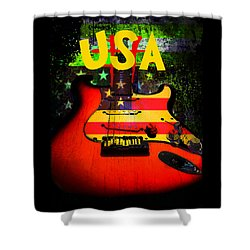 Shower Curtain featuring the photograph Usa Guitar Music by Guitar Wacky