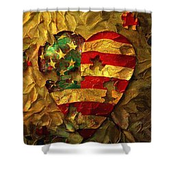 Usa Heart Shower Curtain