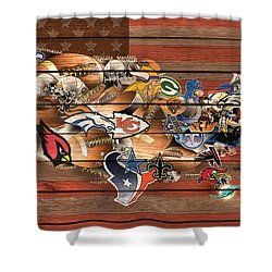 Usa Nfl Map Collage 6 Shower Curtain