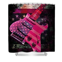 Shower Curtain featuring the photograph Usa Pink Strat Guitar Music by Guitar Wacky