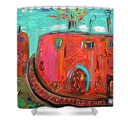 Shower Curtain featuring the painting Usa Steel Still Fascinates by Mary Carol Williams