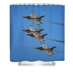 Shower Curtain featuring the photograph Usaf Thunderbirds by Rick Berk