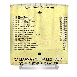 Used Car Prices In 1950 - Dealer's Advertisement Shower Curtain by Merton Allen