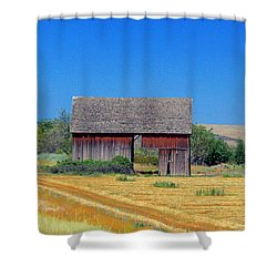 Used To Be Red Barn Shower Curtain by Susan Crossman Buscho