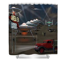 Area 51 Used U F O S Shower Curtain by Mike McGlothlen