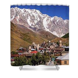 Ushguli And  Shkhara Mount Shower Curtain by Sergey Simanovsky