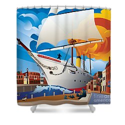 Uss Annapolis In Ego Alley Shower Curtain