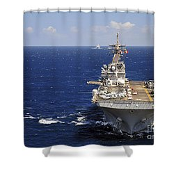 Uss Boxer Leads A Convoy Of Ships Shower Curtain by Stocktrek Images