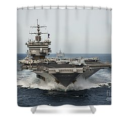 Uss Enterprise Transits The Atlantic Shower Curtain by Stocktrek Images