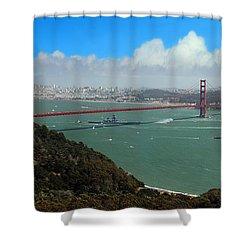 Uss Iowa, Battelship, Golden Gate Bridge, San Francisco, Califor Shower Curtain by Wernher Krutein