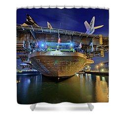 Uss Midway Aircraft Carrier  Shower Curtain