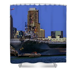 Uss Midway San Diego Ca Shower Curtain by Tommy Anderson