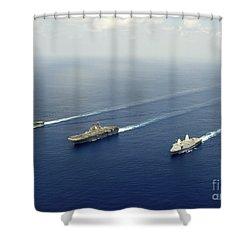 Uss Pearl Harbor, Uss Makin Island Shower Curtain by Stocktrek Images