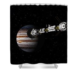 Uss Savannah Approaching Jupiter Shower Curtain by David Robinson