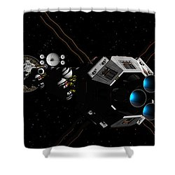 Uss Savannah In Deep Space Shower Curtain by David Robinson