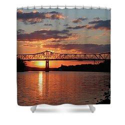 Utica Bridge At Sunset Shower Curtain