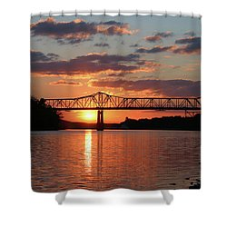 Utica Bridge At Sunset Shower Curtain