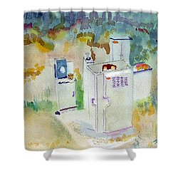 Utility Boxes Near A Forest Shower Curtain