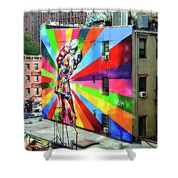 V - J Day Mural By Eduardo Kobra # 2 Shower Curtain