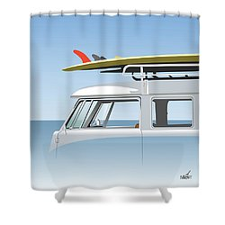 V W Bus With Red Fin Shower Curtain