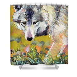 Shower Curtain featuring the pastel Vagabond by Pattie Wall