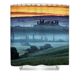 Val D'orcia Shower Curtain by Evgeni Dinev