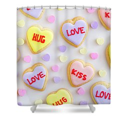 Shower Curtain featuring the photograph Valentine Heart Cookies by Teri Virbickis