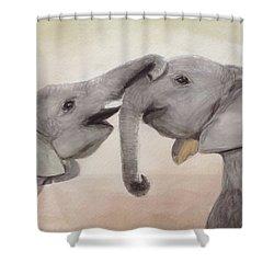 Valentine's Day Elephant Shower Curtain by Annie Poitras