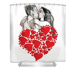 Valentine's Kiss - Valentine's Day Shower Curtain