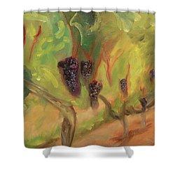 Shower Curtain featuring the painting Valhalla Vineyard by Donna Tuten