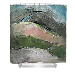 Shower Curtain featuring the painting Valley by Becky Kim